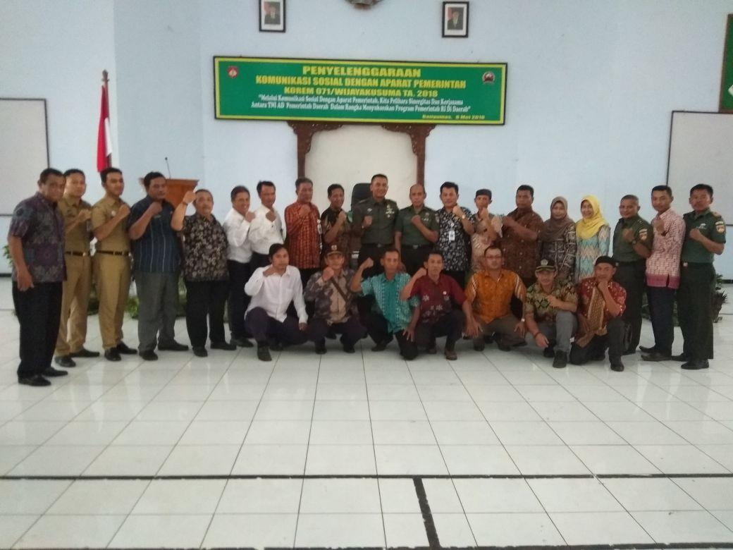 Acara Komsos Korem 071 dengan Aparat Pemerintah Daerah di Makorem 071 Banyumas
