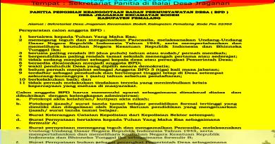Pembukaan Pendaftaran Anggota BPD Jraganan Periode 2018-2024